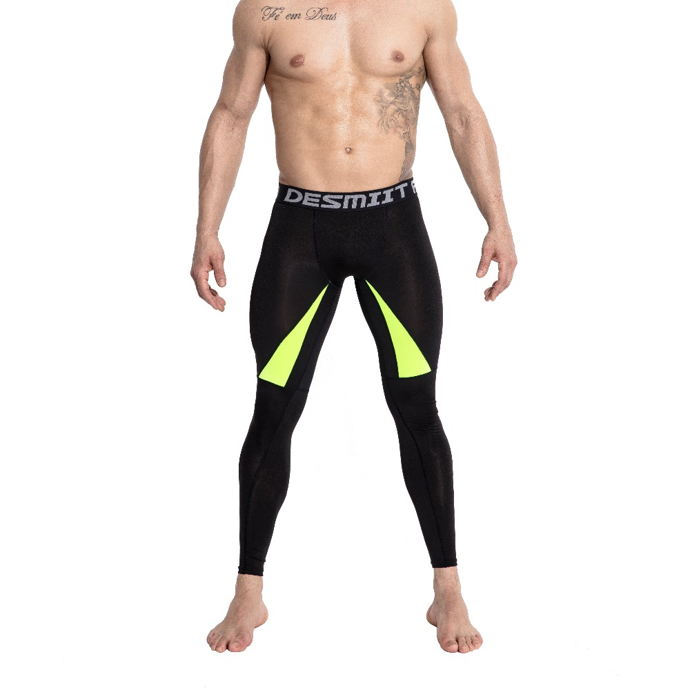 Mens Tight Flexible Training shorts Exercise Pants Fitness Color matching Competition legging