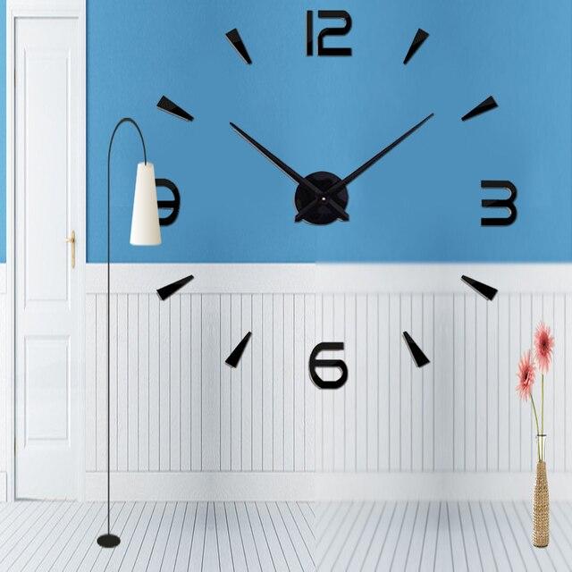 2018 3D Grande Home Decor Acrílico + EVA Espelho Relógio Adesivo de Parede Sala de estar relógio de quartzo Criativo reloj de pared presente original