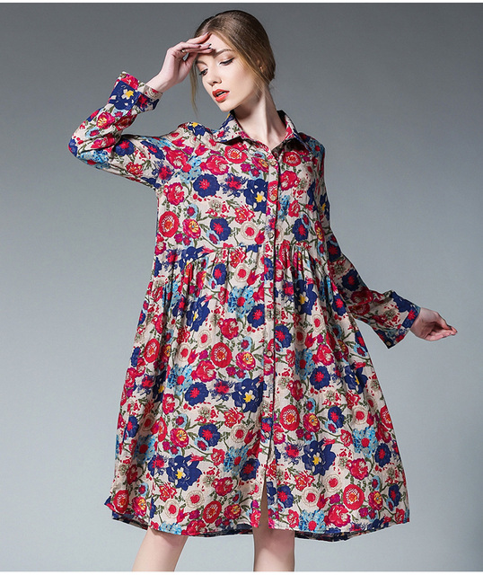 1d7bcdde92a1 women spring dress long sleeve plus size flower print cotton linen party summer  dresses female business