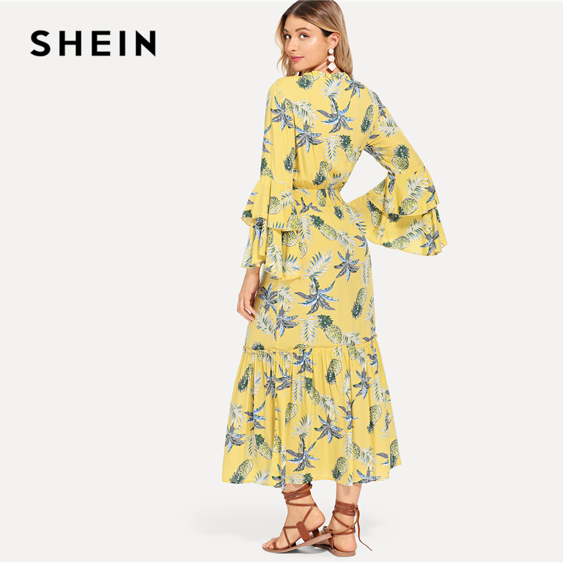 39c3986ab2bf SHEIN Multicolor Vacation Boho Bohemian Beach Tassel Tie Neck Layered Bell  Sleeve Tropical Dress Summer Women Casual Dresses-in Dresses from Women s  ...