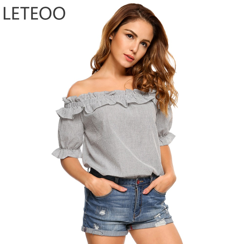 LETEOO Women Off Shoulder Top Striped Shirt Summer Ladies