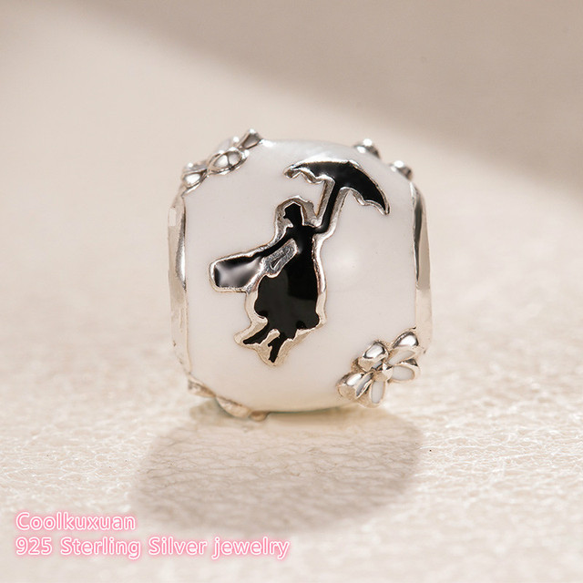 d98dd7b24 2018 Winter 925 Sterling Silver Mary Poppins Silhouette Charm, White &  Black Enamel beads Fit Original Pandora Charms Bracelet-in Beads from  Jewelry ...