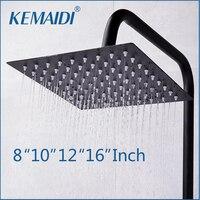 KEMAIDI 8 10 12 16 Shower Head Romantic Bathroom Shower Head Black Shower Square Showerhead ORB