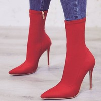 New Arrival Autumn Elastic Fabric Mid Calf Boots Red Yellow Black Pointed Toe Graceful Middle Boots