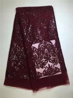 Tecido de renda africano com lantejoulas tecido de paetês brilhantes lantejoulas tela do laço francês de alta qualidade do vinho cor vermelho para o vestido