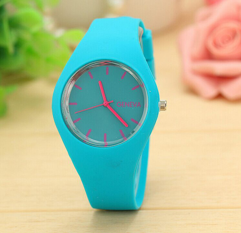 New Hot Geneva Silicone Women Quartz Watch Simple Fashion Casual Sports Ladies Round Buckle Female Wrist Watch Relogio Feminino in Women 39 s Watches from Watches