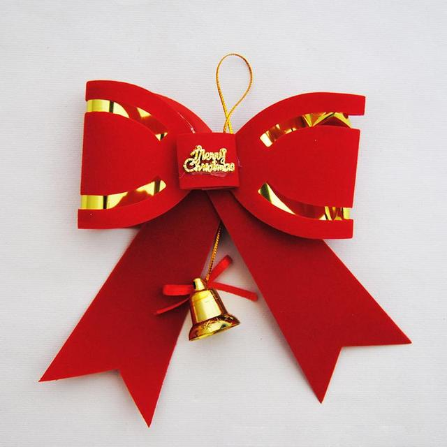 50pcs lot vivid red bowknot with bell decoration christmas tree