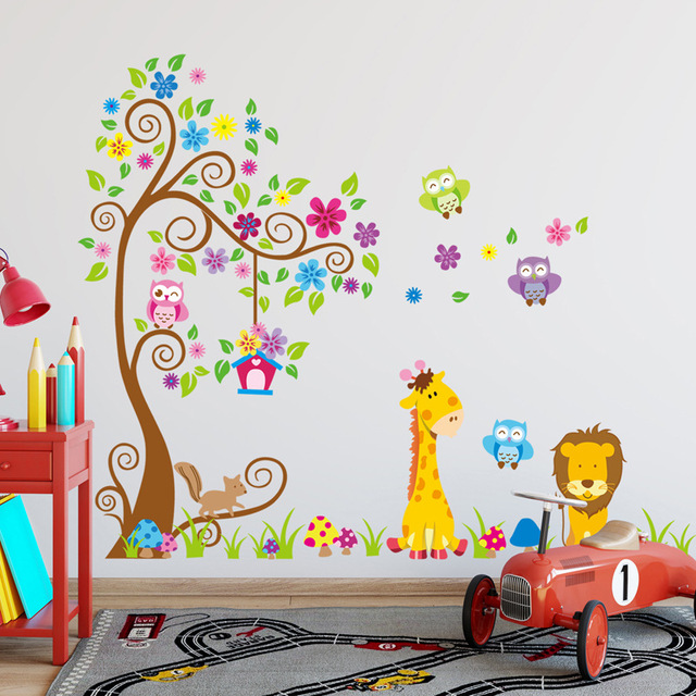 Cartoon forest animal giraffe lion owl wall stickers vinyl diy flower tree animal wall decals for