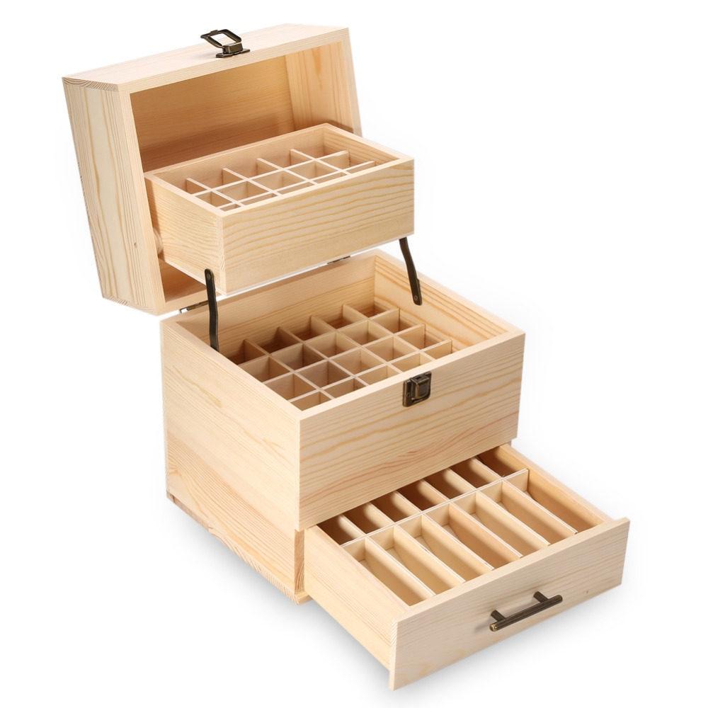 Online Shop Home Garden Multifunction Retro Wooden Storage Boxes Desktop Keranjang Multifungsi Box Organizer 59 Slots 3 Layers Essential Oil Aromatherapy Detachable Bottle Holder Household Travel Cosmetics