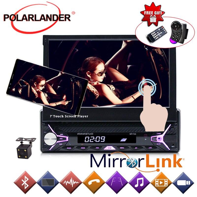 Autoradio radio lecteur cassette Mp5 Autoradio MP3/RDS/USB/SD/TF carte 1 Din 7 pouces main libre ecran tactile Bluetooth miroir Lin