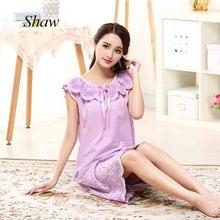 c870a37e6c8 2018Ladies summer sleep wear 100% cotton nightgown sleeveless embroidery  purple nightwear Arab middle east style