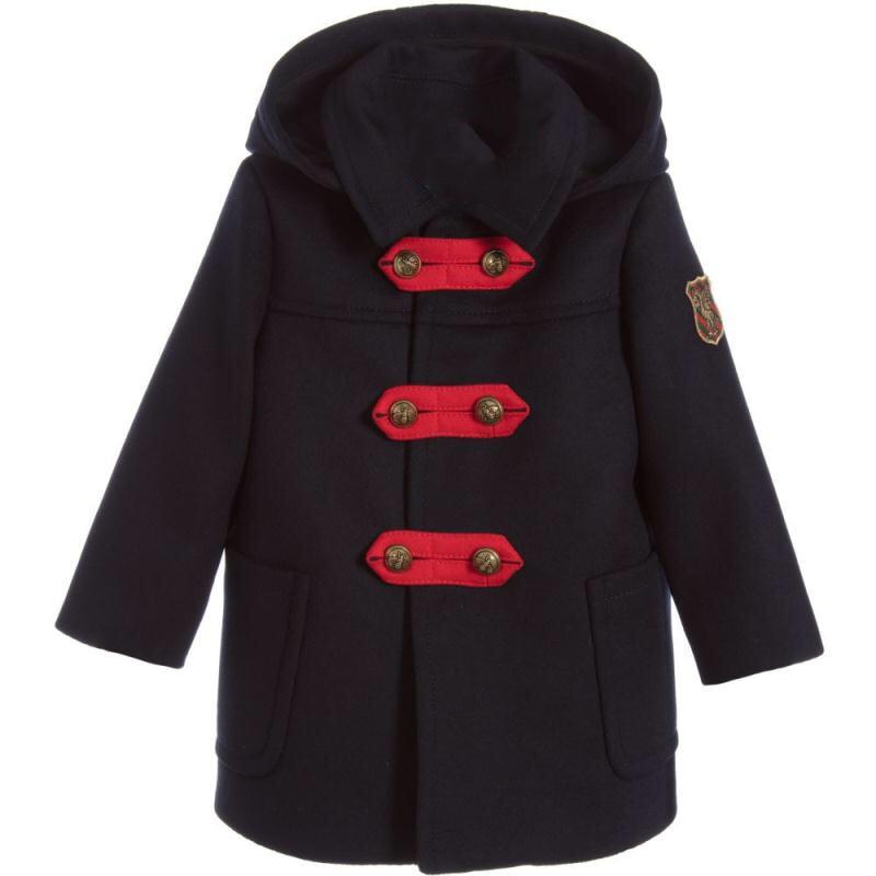 Detachable Hooded Collar Woolen Big Boys Long Jacket Navy Thermal Preppy Style Winter Kids Warm Coat Children's Clothes