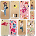 I6 6s Soft TPU Silicon Girls Sexy lips ice cream Patterned Cases for iPhone 6 6s 6Plus 5S Transparent Clear Back Case Cover Capa