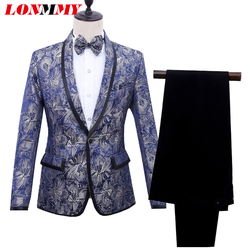 LONMMY Woven flower suits men Tuxedos wedding suits for men Formal Wear flower 2 Pieces Pants+blazer man Floral terno masculino