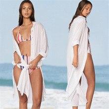Kaftan Beach Swim Cover Up Swimwear Women Dresses Bikinis Female 2019 Pareo Europeans Americans Cotton Shirt Skirt Dress Single