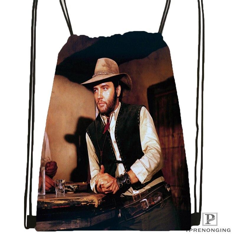 Custom Elvis Presley Drawstring Backpack Bag Cute Daypack Kids Satchel Black Back 31x40cm 180531 02 33