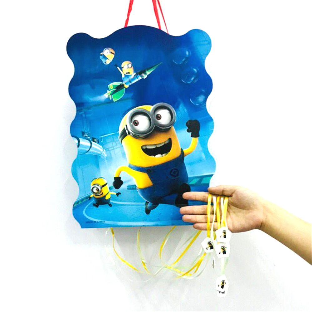 40*30cm Minions Pinata Figure Funny Whistles Childrens Birthday Party Dragon Kids Pinata Baby Party Supplies Sets
