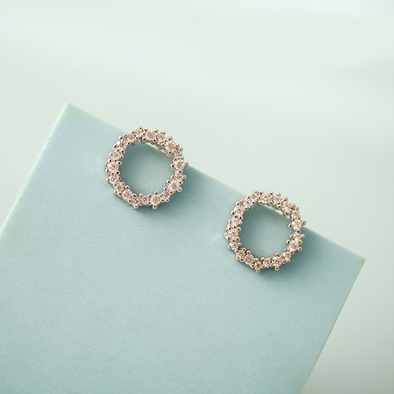 Fashion Silver Color  Circle Earrings For Women Christmas Gifts Girls Earrings Luxury Brand Jewelry Pendientes Brincos