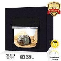 Портативный мини комплект, светодиодный фотостудий, световая коробка для фото, настольный софтбокс 60X60X60 см с 4 шт., фон из ПВХ ткани