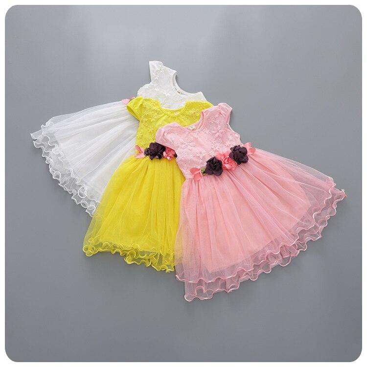 Children's Garment 2016 Summer Wear Korean Girl Baby Flower Belt Yarn Dress Princess  Girl Vest