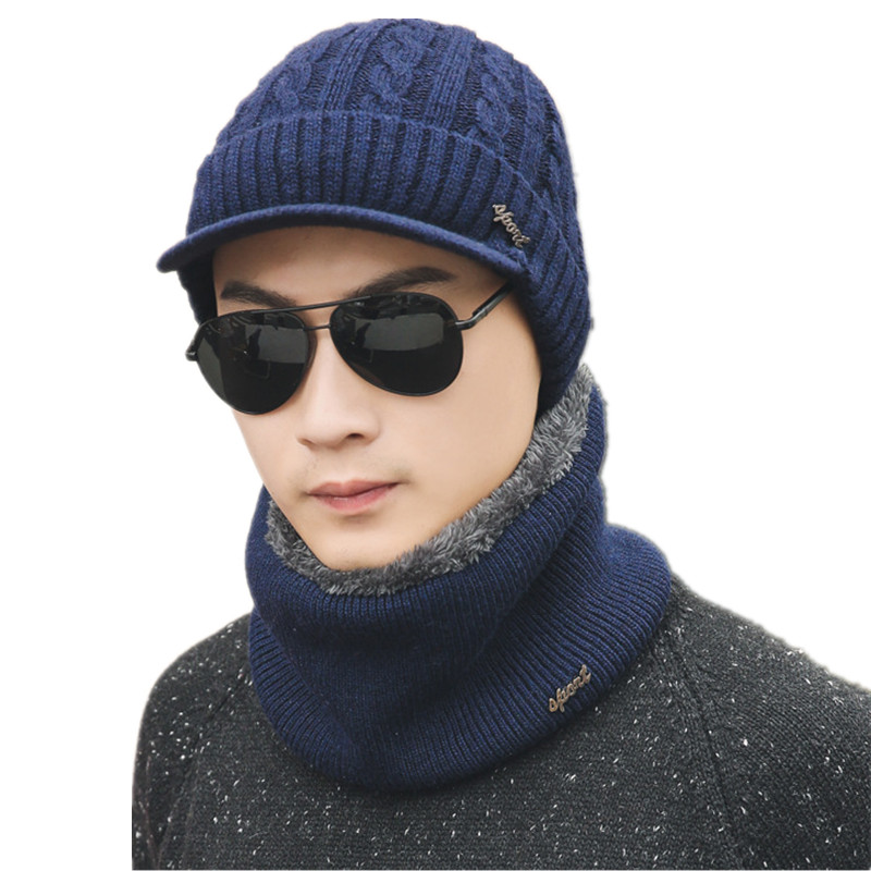 Scarf-Set Winter Accessories Beanies Cotton Women for Male Thick Warm Two-Pieces Hat