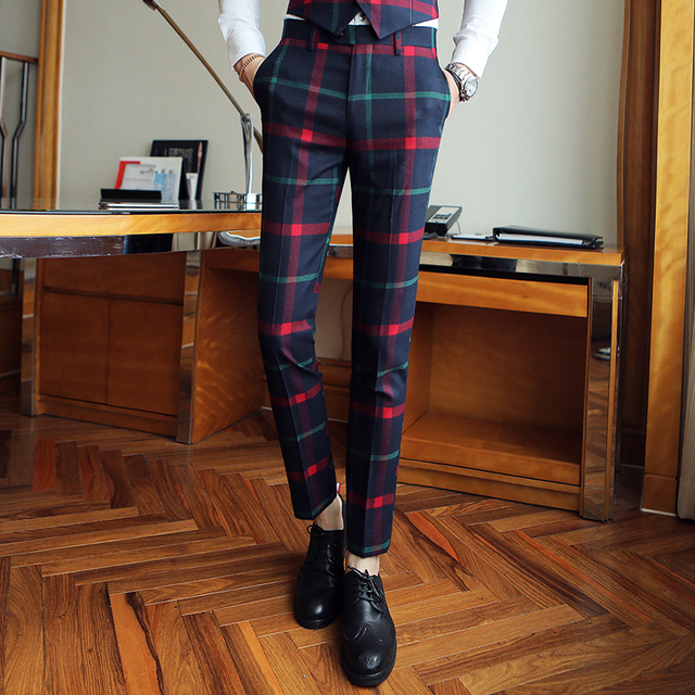 Fantastic 2017 autumn new men's plaid trousers fashion casual trousers  YI41