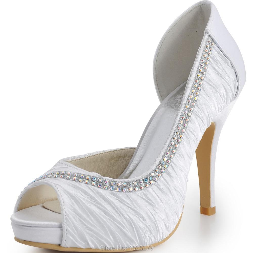 ФОТО EP11044-IP White Satin Peep Toe Stiletto Heel/Pumps Inside Platform Ruched Rhinestones Bridal &Party Shoes (More Colors)