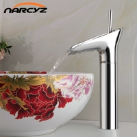 Brand New Chrome Polished Basin Sink Waterfall Tap Single Lever Single Hole Deck Mounted Basin Waterfall