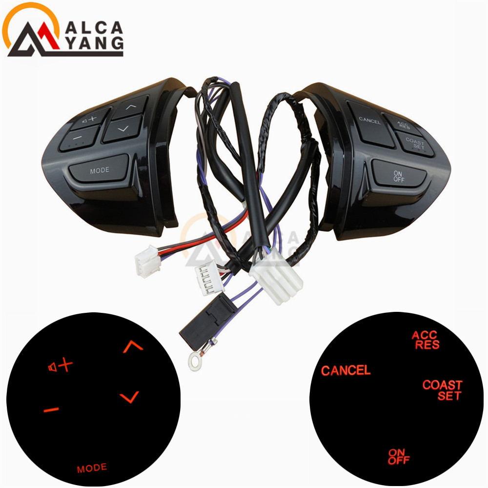 Steering wheel control buttons with cables silver buttons For Mitsubishi ASX 2007 2012 Outlander