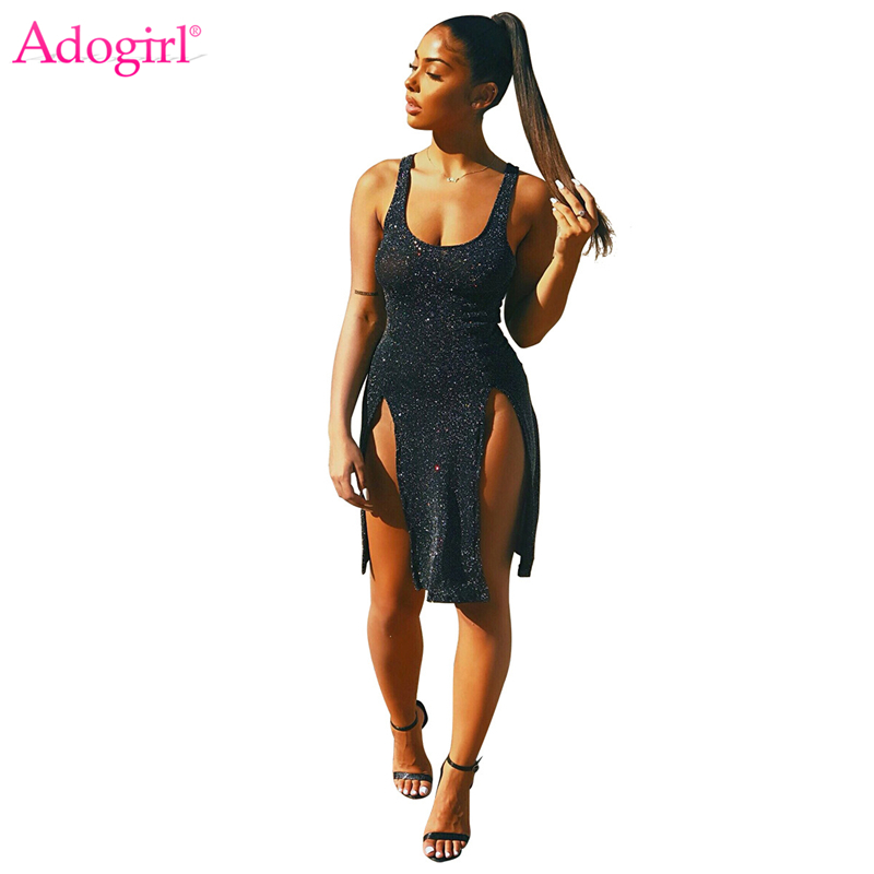 Adogirl Highly Stretchy Silver Wire Bodycon Club Dress Sexy Sleeveless Open Back Side High Slit Mini Party Dresses Vest Dress