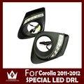 Guang Dian luz do carro drl led CAR veículos LED DRL Daytime running luz com Alumínio tampa traseira Para Corolla 2011 2012 2013