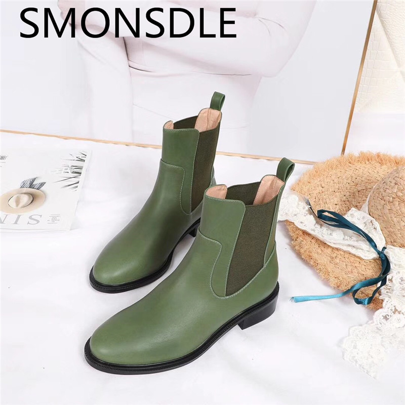 SMONSDLE New Fashion Black Green Genuine Leathe Women Ankle Boots Round Toe Slip On Women Short Autumn Winter Boots Shoes Woman nec p401w