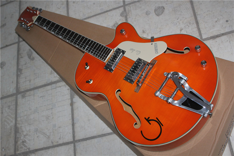 Factory Custom Gretsch Guitar Orange Falcon 6120 Semi Hollow Body Jazz Electric Guitar With Bigsby Tremolo Free Shipping 1 2 free shipping top factory custom gretsch wine red falcon 6120 semi hollow body jazz electric guitar with bigsby tremolo in stock