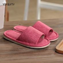2017 new Flax slippers female summer couple spring and autumn thick indoor floor non - slip home household cotton slippers