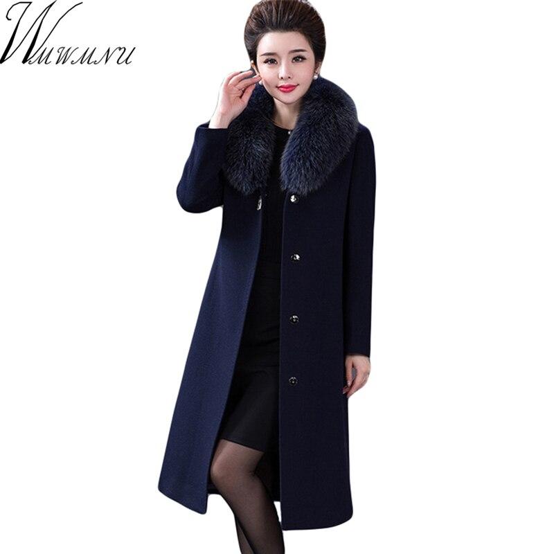 2018 autumn winter Brand Trench Coat Women Long jackets Femme fake fur collar Windbreaker Wool Coats Plus Size 4XL High quality