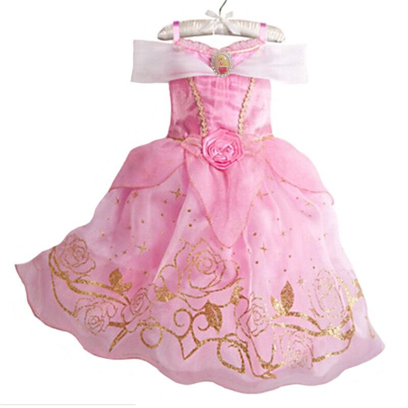 Nuevos vestidos de fiesta de niñas vestidos de princesa de verano para niñas Cenicienta Rapunzel Aurora Belle Cosplay disfraz vestidos de novia