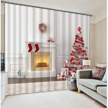 Boutique Christmas Tree Curtains Bedding Living Room Festival Cortians Thick Sunshade Window Curtains Custom-made Size Available