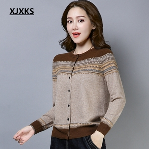Image 1 - XJXKS New Spring Sweaters New 2019 Female Knit Cardigan Sweater Coat Knitted Jacket Comfortable Soft Jumper Women Sweater