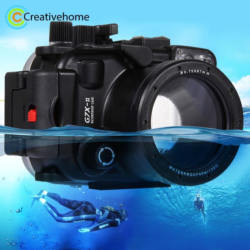 PULUZ For Canon G7 X Mark II Case Waterproof Underwater 130ft Depth Diving Case Waterproof Camera Housing for Canon G7 X Mark II meikon 40m wp dc44 waterproof underwater housing case 40m 130ft for canon g1x camera 18 as wp dc44