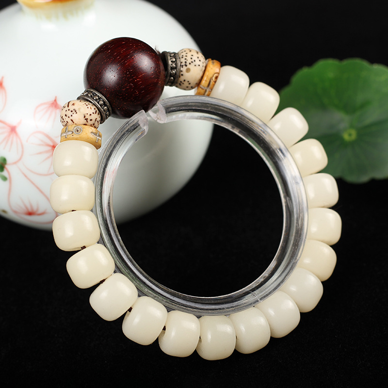 Natural Wooden Ivory White Tagua Nut Rudraksha Beads Stretch Bracelet For Women Men Yoga Meditation Buddha Chakra Jewelry