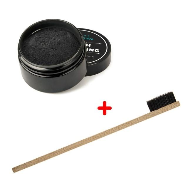 Blanqueador de dientes 2018 Natural activado polvo de carbón orgánico Limpieza de dientes esmalte + cepillo de dientes de Bambú