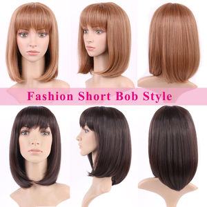 Image 3 - S noilite Ombre Synthetic Hair Wigs For African American Black Women Long Wavy Brown Mixed Two Tone Wigs With Bangs