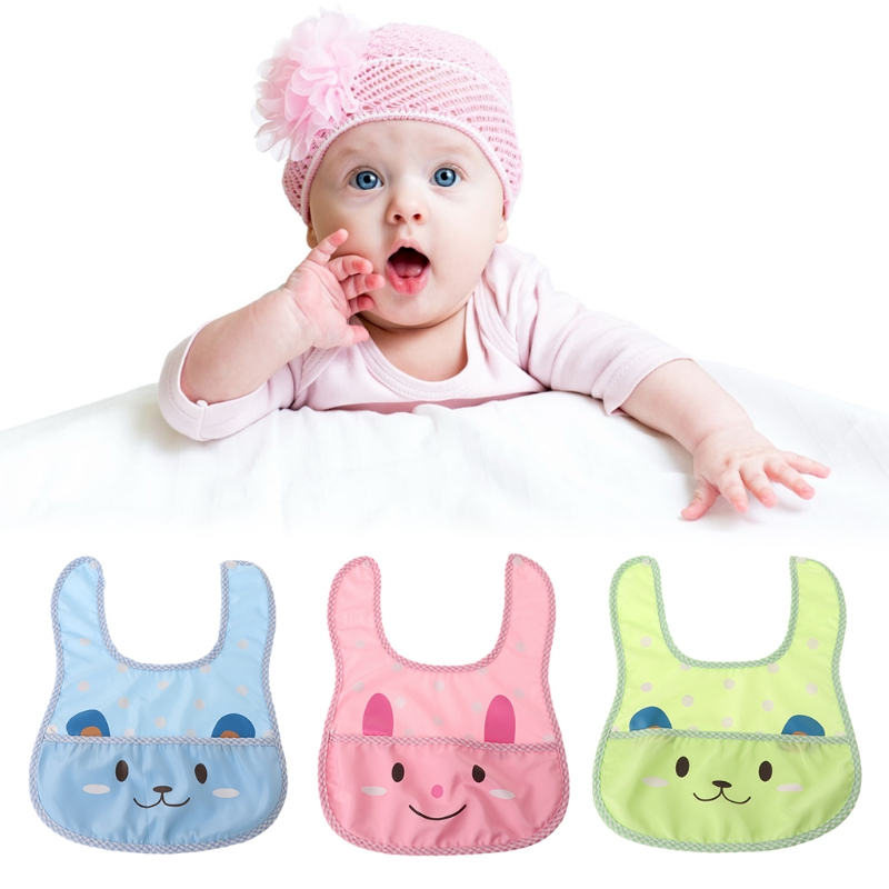 Baby Bibs Waterproof Cartoon Soft Infant Newborn Toddler Saliva Feeding Pocket ...