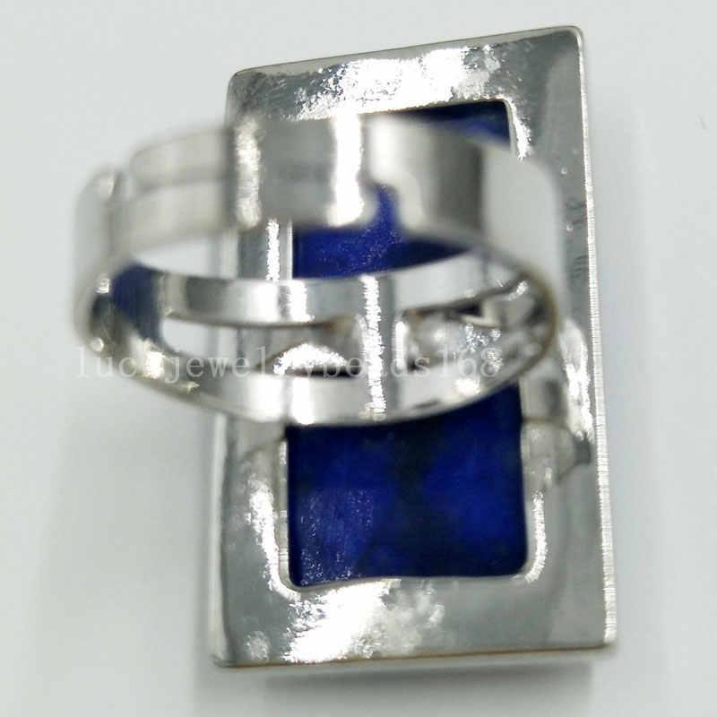 "Labradorite Tigers Eye คริสตัล Howlite โอปอล Aventurine ธรรมชาติ Lapis Lazuli รูปไข่ผู้หญิงผู้ชายแหวนลูกปัด 6.5 ~ 12 ""US ปรับ WFH392"