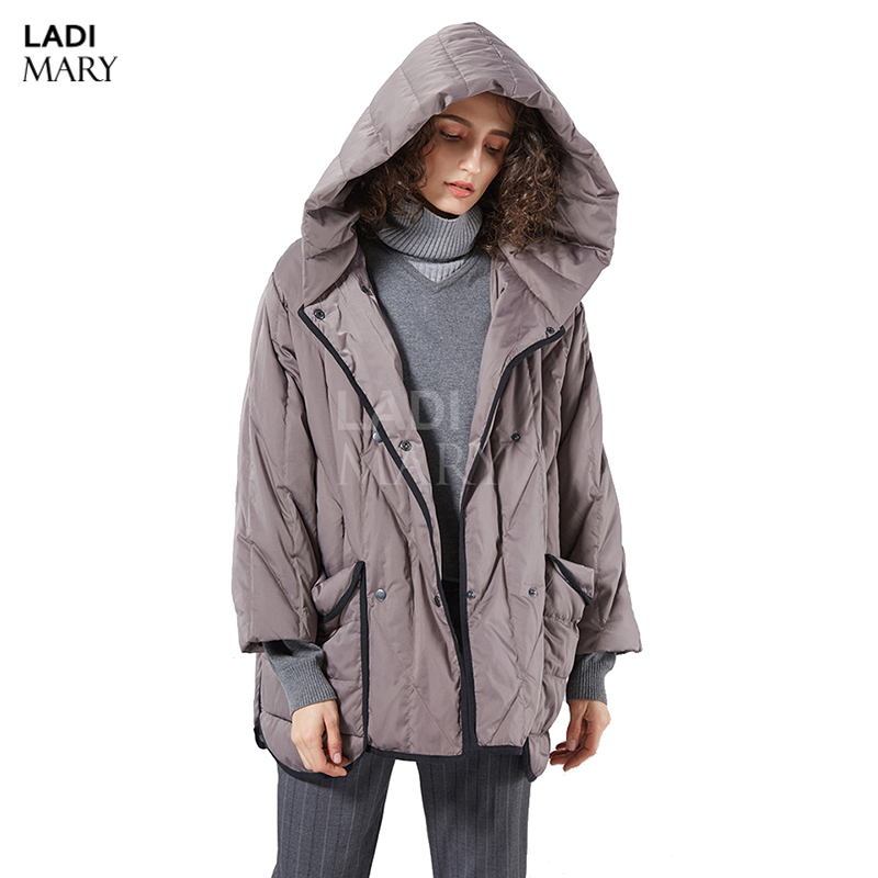 LADIMARY Winter 90% Duck Down Coat Fashion Brand Hooded Style Long Down Jacket Womens Loose Thicker Warm Coat LM360044