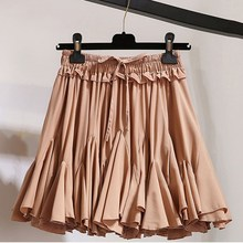 цена 2019 Women Summer High Waist  A Line Mini Skirt Sexy Ruffle Hem Beach Pleated Skirt Korean Solid Chiffon Tutu Short Skirt