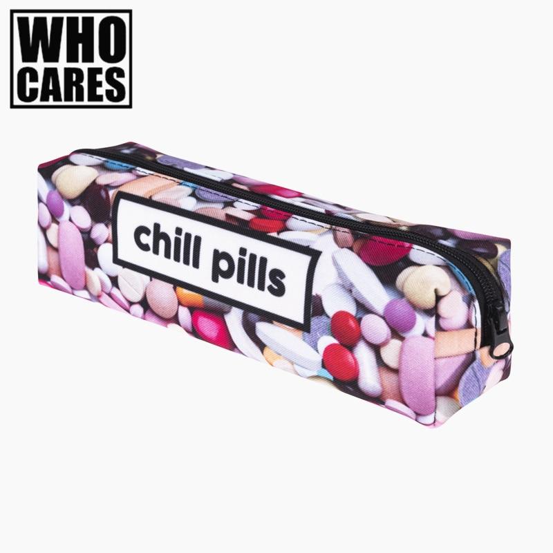 chill pills 3D Printing school Cosmetic bag women makeup bag organizer pouch necessaire trousse de maquillage bags pencil case