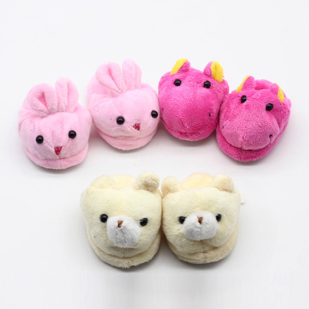 1pair Factory grossist Söt Rose Filt Slippers För 45cm Girls 18inch Gril Doll som för 43cm baby födda zapf docka kanin skor