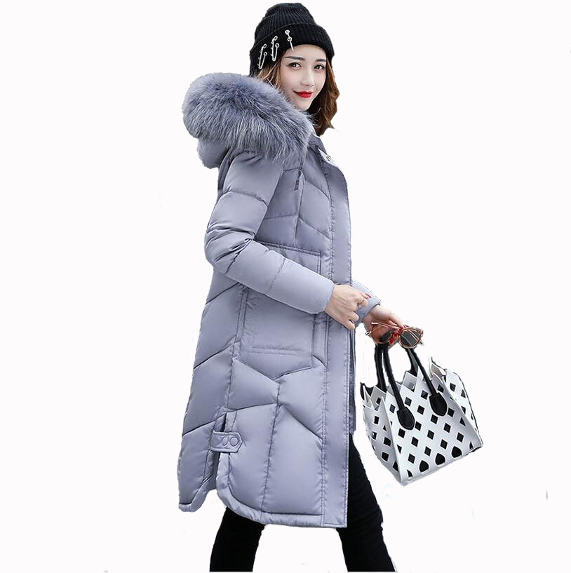 Parkas Women 2017 Fashion Winter Jacket Coat Women Long Thicken Down Cotton-padded Faux Big Fur Collar Warm Female Outwear XXXL uwback 2016 new brand winter jacket women plus size 4xl faux fur collar down coat women black thicken padded parkas mujer tb1181