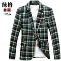 Casual xadrez terno xadrez blazer masculino magro xadrez vestuário de homem
